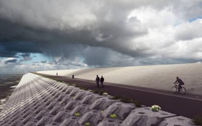 Harlinger betonblokken verstevigen afsluitdijk